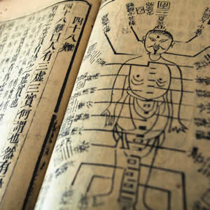 Photo of an old Chinese medicine book.