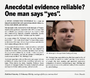 "Picture of satirical news item with the headline, ""Anecdotal evidence reliable? One man says yes."