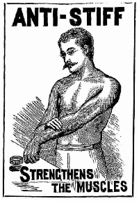 """Low quality old illustration of a shirtless gentleman with an old-timey mustache, rubbing an ointment on his forearm, with the caption """"strengthes the muscles."""""""
