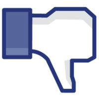 Facebook thumbs up icon, inverted to thumbs down.