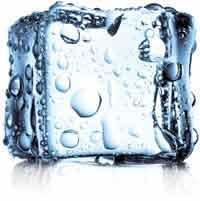 Photograph of an ice cube, isolated on white, representing cryotherapy.