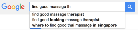 "Screenshot of a Google search for ""find good massage"" with two very different auto-complete searches: find good massage therapist, and find good looking massage therapists."