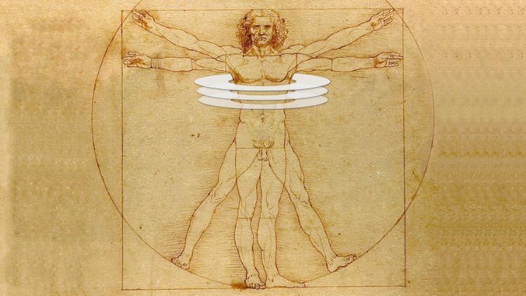 da Vinci's Vitruvian man with superimposed graphics of rings around the rib cage.