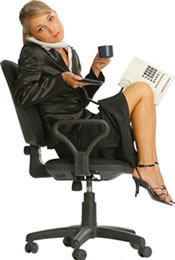 Photo of a woman in a chair. Chair workers often suffer from patellofemoral pain syndrome.